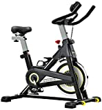 SOVNIA Bicicleta Estatica de Spinning profesional Bici Ejercicio con soporte para iPad, monitor LCD y cómodo cojín de asiento, Bicicleta indoor, Speedbike con Sistema de bajo Ruido (Black)
