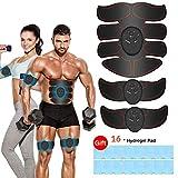 Estimulador Muscular Abdominales, EMS Electroestimulador Muscular Abdominales, ABS Estimulador Muscula para Hombre/Mujer, Abdomen Brazo Piernas Glúteos, Almohadillas de Gel 16pcs (Negro)