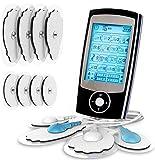 Electroestimulador digital, para aliviar el dolor muscular y el fortalecimiento muscular, masaje, EMS, TENS, pantalla LCD azul,8 electrodos autoadhesivos, 16 Programas de masaje